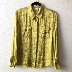 Hip Yellow / Green Floral Burnout Button Down Top
